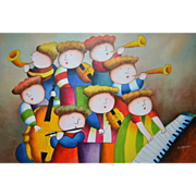 """SALE J. Roybal Original 36"""" Whimsical Child Musicians at Play Acrylic Impressionism Paint"""