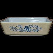 SALE Pyrex Homestead Pattern 1.5 Quart Blue Flower Refrigerator Dish #503B