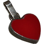 SALE Sterling Silver Red Enamel Heart Pendant Charm
