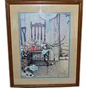 SALE 1969 Norman Rockwell 'SPRING FLOWERS' Framed Art Print