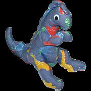 SALE Large Googly-Eyed Denim Dinosaur Primitive Style Plush Toy