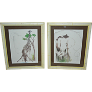 SALE Set of 2 TARA Signed Mother/Baby Giraffe & Elephant Animal Lithograph Art Prints