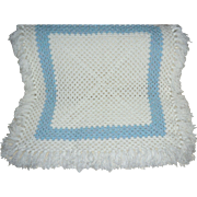 SALE Beautiful White & Baby Blue Square Crochet Blanket with Fringe