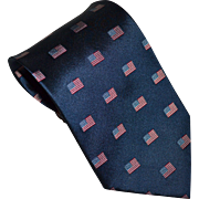 SALE Patriotic American Flag Navy Blue SILK Men's Tie w/ Original Tag