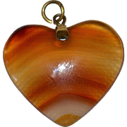 SALE Large Banded Orange Agate Stone Heart Pendant