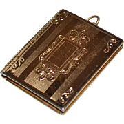 SALE CORO Etched Goldtone Hinged Photo Locket Pendant