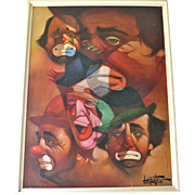 SALE Chuck Oberstein Large Signed FIVE CLOWNS Framed Wall Art