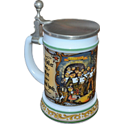 SALE BMF Bierseidel Christmas Carolers White Milk Glass Beer Stein w/ Pewter Lid