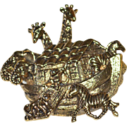SALE AVON Noah's Ark Detailed Goldtone Brooch/Pin