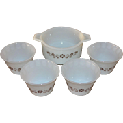 SALE Dynaware Pyr-O-Rey 5-Pc Daisy Milk Glass Ramekin or Custard Cup w/ Serving Dish