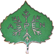 SALE 1950s Austrian Made Green Enamel ASPEN Colorado Ski Pin
