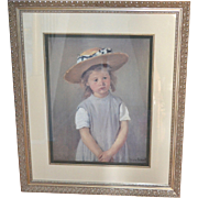 "SALE Huge 33"" Mary Cassatt ""Child in a Straw Hat"" Framed Reproduction Art Print"