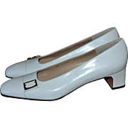 SALE NOS Salvatore Ferragamo Lily White Leather Classic Low Heel Shoes ~ Size 7.5AA