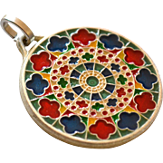 SALE Enamel Rose Window of Notre Dame Cathedral Paris Pendant