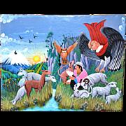 SALE Colorful Oil on Sheepskin Signed Original Cotopaxi Ecuador Painting