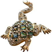 SALE Large Abalone & Rhinestone Frog Pin/Brooch