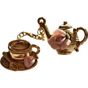 SALE 1928 Jewelry Pink Clay Rose Tiny Teapot w/ Cup & Saucer Chained Scatter Pin Set