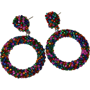 SALE Large Colorful Twisted Seed Bead Pierced Hoop Earrings