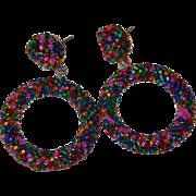 SALE Large Colorful Twisted Seed Bead Pierced Hoop Earrings