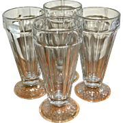 SALE Libbey Set of 4 Old Fashioned Soda Fountain Patterned Base Glasses