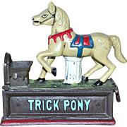 SALE Collector's Edition Painted Cast Iron TRICK PONY Horse Mechanical Reproduction Penny Bank