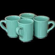 SALE Homer Laughlin Set of 4 Sea Green Restaurant Ware Mugs