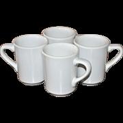SALE Homer Laughlin Set of 4 White China Restaurant Ware Mugs