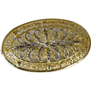 SALE Alice Caviness Sterling Silver Gold Wash Marcasite Classic Oval Brooch/Pin
