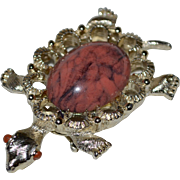 SALE Gerry's Salmon Pink & Black Jelly Belly Turtle Figural Brooch/Pin/Pendant