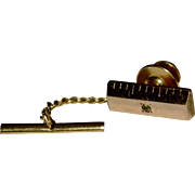 SALE CTO Signed 10K GF Diamond Ruler Bar Tie Tack Pin