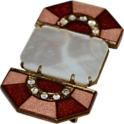 SALE Art Deco Pink & Red Guilloche Enamel Mother of Pearl & Rhinestone Belt Sash