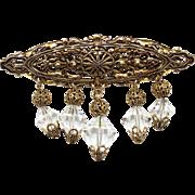 Vintage Filigree & Dangling Crystal Bead Bar Brooch