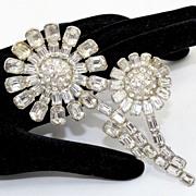 SALE Vintage Large Staret Clear Rhinestone Double Flower Brooch