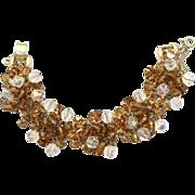 Vintage Juliana (D&E) Topaz & AB Crystal Bead and Rhinestone Bracelet