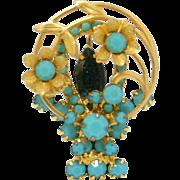 SALE Vintage Juliana (D&E) Book Piece Turquoise Rhinestone Flower Basket Brooch