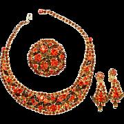Vintage Juliana (D&E) Book Piece Orange & Topaz Rhinestone Sticks N Stones Parure