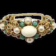 Vintage Juliana (D&E) Faux Pearl,  Jade and Red Rhinestone Heart Scroll Clamper Bracelet