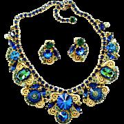 Vintage Juliana (D&E) Bermuda Blue Margarita, Rivoli Rhinestone & S Scroll Demi Parure