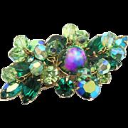Vintage Green Rhinestone & Peridot Crystal Bead Brooch