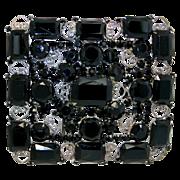 SALE Huge Vintage Juliana (D&E) Black Rhinestone & Heart Scroll Belt Buckle