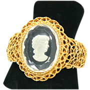 SALE Vintage Juliana (D&E) Intaglio Clear Filigree Cameo Clamper Bracelet