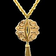 SALE Vintage Juliana (D&E) Book Piece Rococo Style Molded Resin Tassel Pendant Necklace
