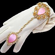 Vintage Juliana (D&E) Book Piece Thermo Plastic Pink Slave Bracelet