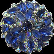 Vintage Juliana (D&E) Blue & AB Rhinestone Round Dimensional Brooch