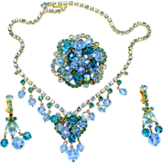Vintage Juliana (D&E) Book Piece Aqua Blue & Teal Rhinestone & Crystal Bead Parure