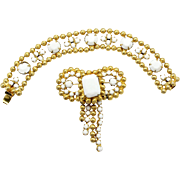 Vintage Juliana (D&E) Book Piece Ball Chain & White Milk Glass Rhinestone Demi Parure