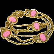 SALE Vintage Juliana (D&E) Pink Egyptian Scarab Stations Belt