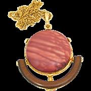 SALE Vintage Juliana (D&E)  Heat Formed Plastic & Wood Pendant Necklace