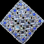 Vintage Juliana (D&E) Book Piece Blue Square Rhinestone Pendant / Brooch
