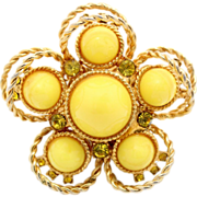 Vintage Juliana (D&E) Book Piece Yellow High Dome Cabochon Double Rings Brooch